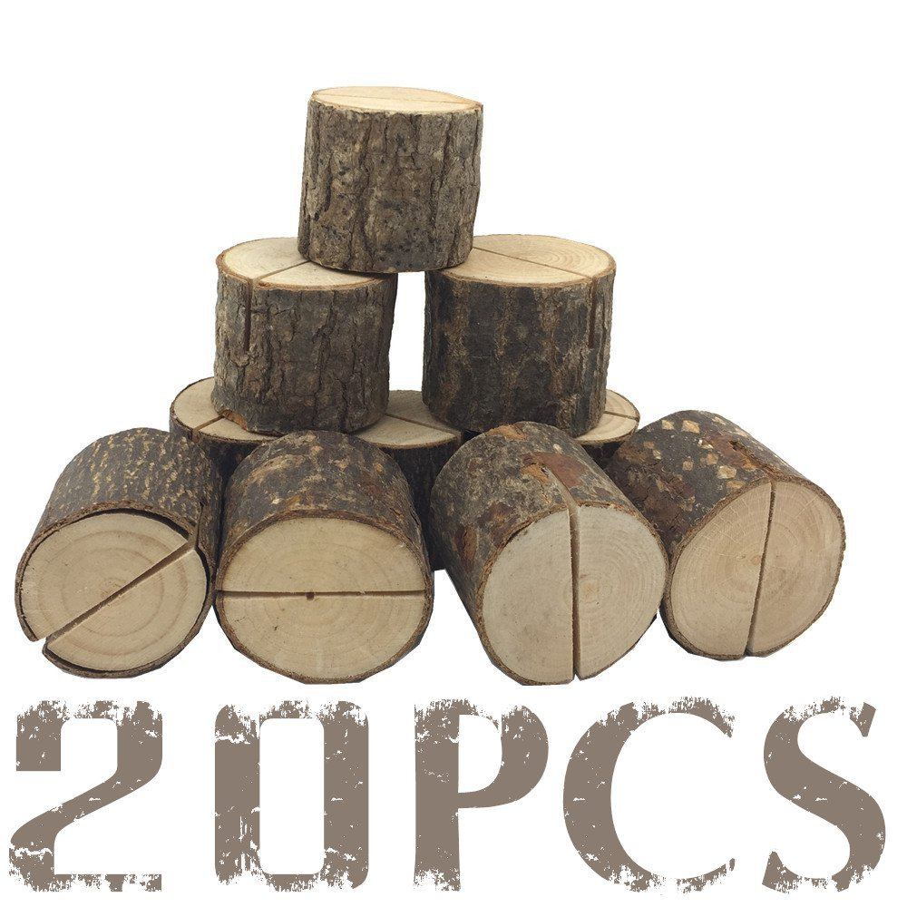 Wood Place Card - photo card holder - Rustic Wood Table Numbers Holder Wood Place Card Holder Party Wedding Table Name Card Holder Memo Note Card (20 pcs)