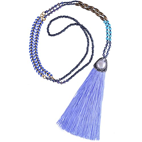 314c90d8bbefc4 C·QUAN CHI Long Tassel Necklace Handmade Braided Crystal Beaded Pendant  Bohemian Women Statement Jewelry