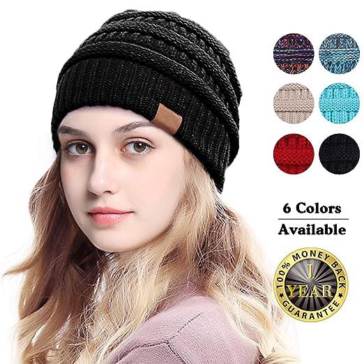 Beanie Hat - Women Knit Winter Hat Stretch Ponytail Messy High Bun  BeanieTail Cable Knit Slouchy 5e42c1edec2