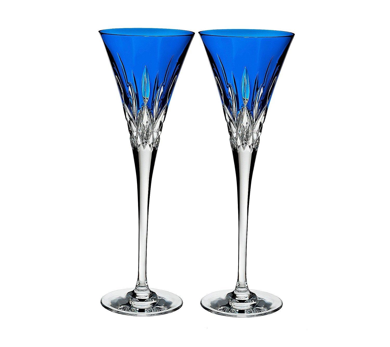 Waterford Lismore Pops Set of 2 Flutes Aqua