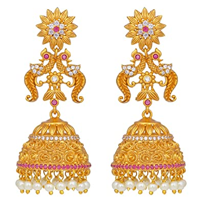f5d679039 Buy Peora Temple Jewellery 18K Gold Plated Diamond Cut CZ Jhumki Jhumka  Earrings for Women Girls Online at Low Prices in India | Amazon Jewellery  Store ...