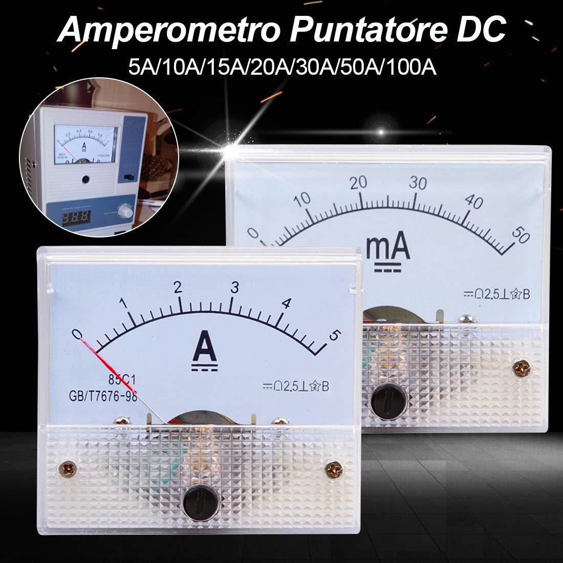 uu19ee Amper/ímetros mec/ánicos 85C1 del analizador del amper/ímetro del Panel 5A 10A 20A 30A 50A 50A 100A