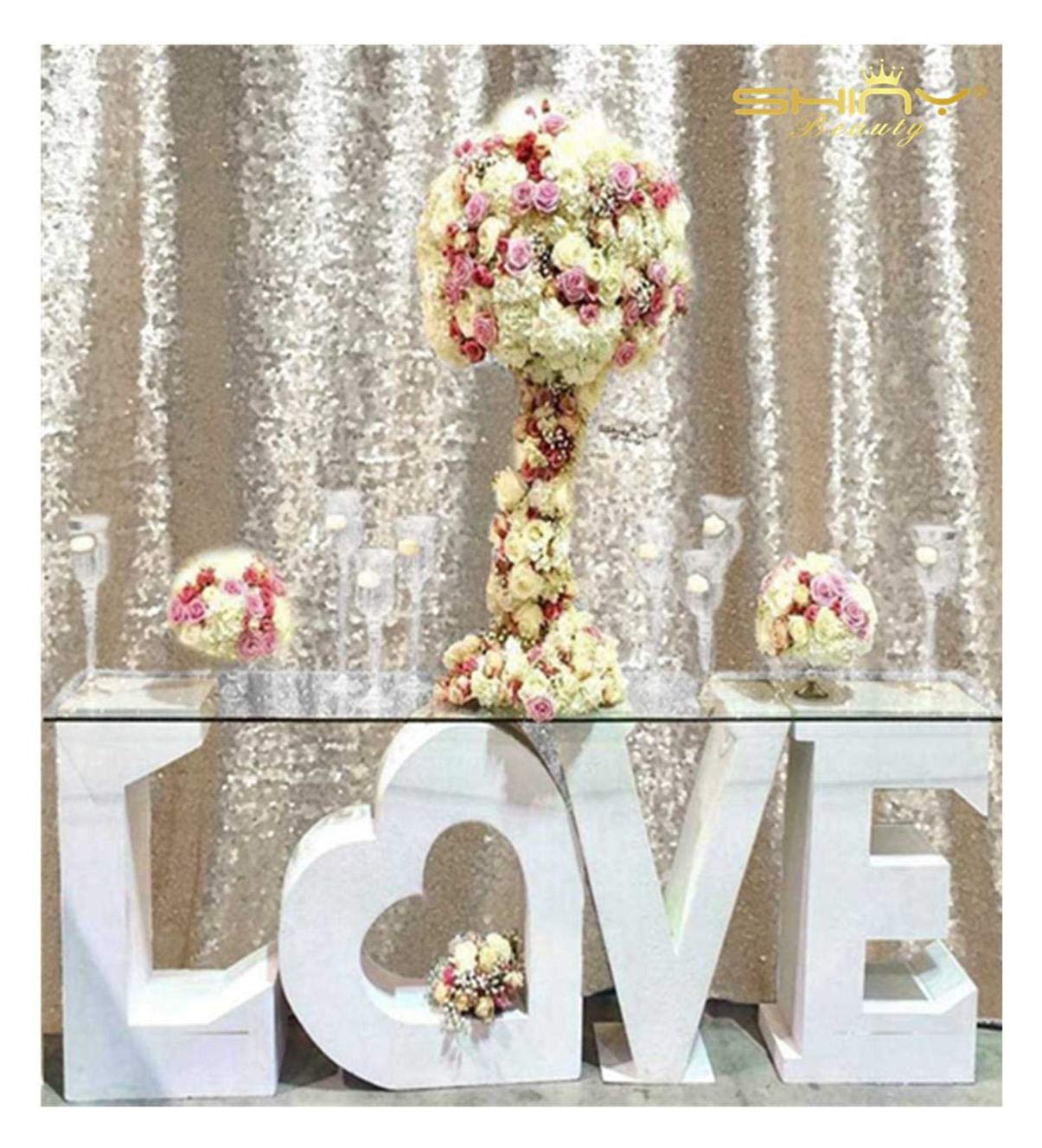 PHOTOBOOTH Background Best Choice-7FTx7FT-Champagne-Sequin Photography Backdrop Curtains for Wedding by ShinyBeauty
