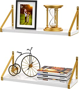 STORAGEGEAR White Floating Shelves with Modern Stylish Golden Metal Brackets Set of 2, Fashion Wall Mounted Decoration for Living Room, Bathroom, Bedroom and Kitchen Home Space