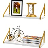 STORAGEGEAR White Floating Shelves with Modern Stylish Golden Metal Brackets Set of 2, Fashion Wall Mounted Decoration for Li
