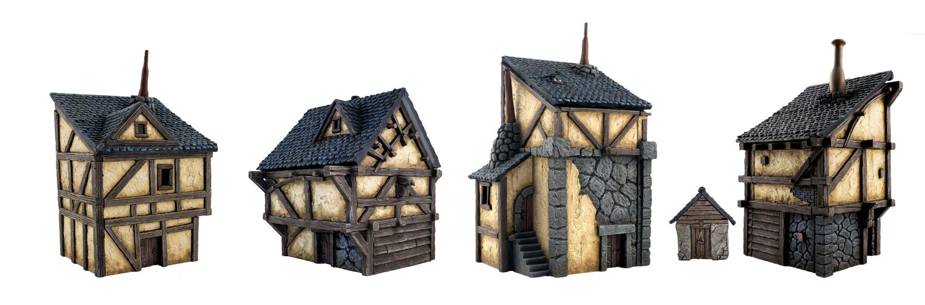 Fantasy Houses -Set of 4 by WWG -Medieval Wargame Scenery & Terrain