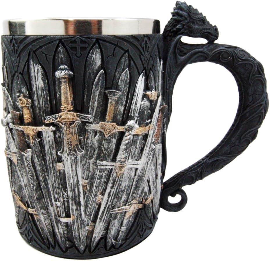 DingSheng Tasse en Acier Inoxydable Gothique Viking Tribal Dragon Armor Wine Coffee Tea Mug Biere Creepy Collectibles Cadeau pour Homme 300 /à 400 ML