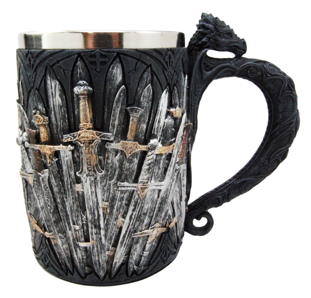 Ebros Medieval Dragon Iron Throne Of Swords Mug Beer Stein Tankard Coffee Cup 5.25''H