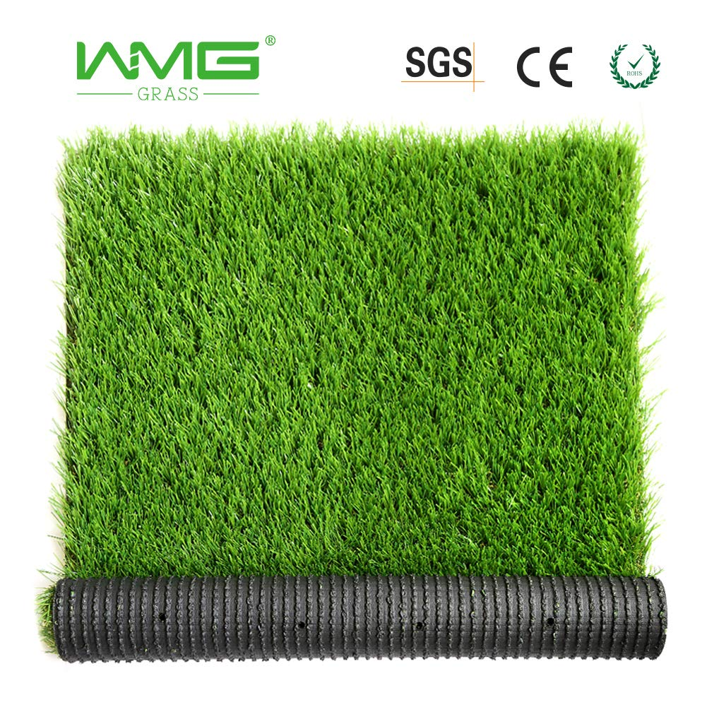 WMG Artificial Grass w/Drainage Holes & Rubber Backing 3'x5' Realistic Synthetic Artificial Turf Soft Pet Turf Fake Grass for Patio Yard Balcony Indoor/Outdoor Décor, 1 Pack by WMG