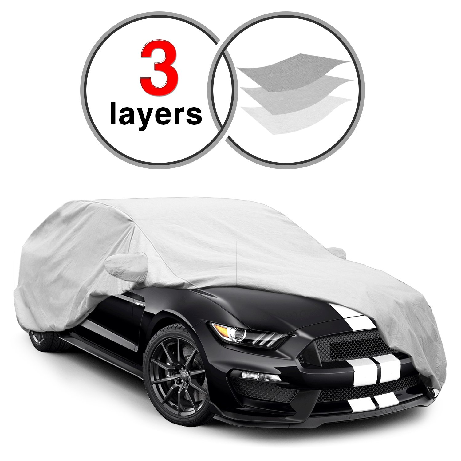Ford Mustang Car Cover for 2015-2016, 3 Layers KAKIT Waterproof Windproof Dustproof Scratch Proof Custom Fit Car Cover for Ford Mustang, Free Windproof Ribbon 4336324862