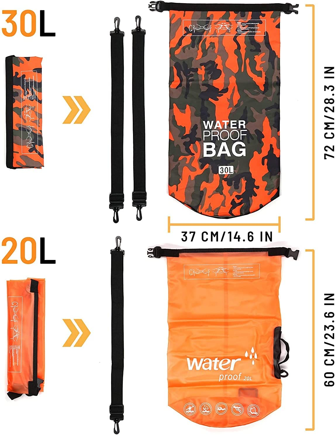 MARJAQE Waterproof Dry Bag Backpack Sac 20L//30L 2-Pack All Purpose Swimming Storage Sack Foldable for Floating Kayaking Fishing Canoeing Hiking Camping Boating Rafting Beach