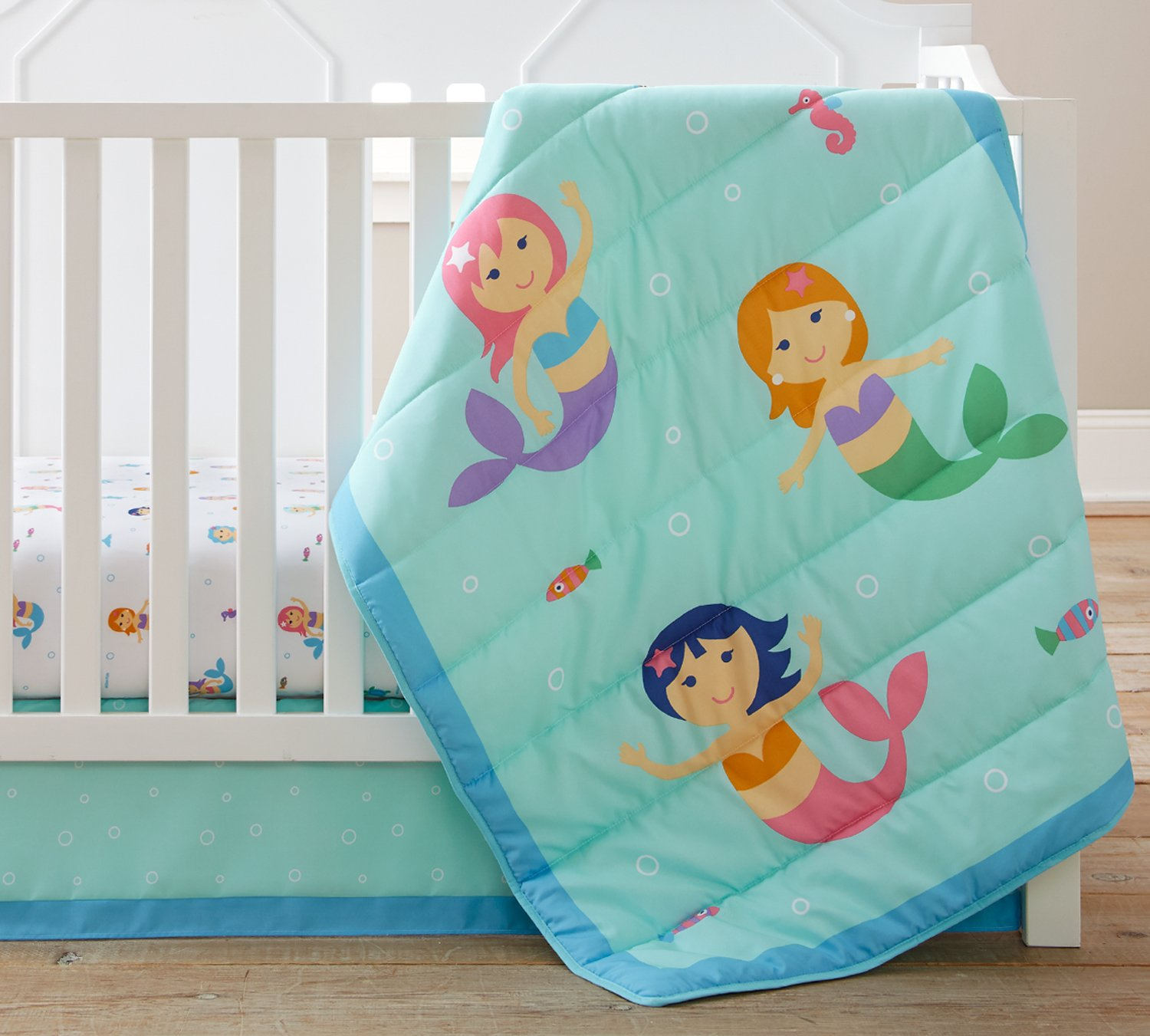 Wildkin 3 Piece Crib Bed-In-A-Bag, 100% Microfiber Crib Bedding Set, Includes Comforter, Fitted Sheet, and Crib Skirt, Coordinates with Other Room Décor, Olive Kids Design – Mermaids