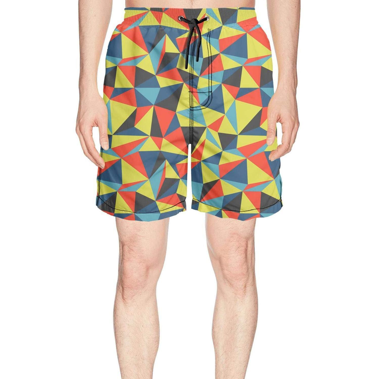 truye rrelk Cool Triangle Colorful Diamond Fashion Men's Swimming Trunks Short