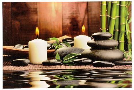 Großes Led Wandbild Bambus Mit Steingarten Und Kerzen Beleuchtet 60