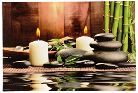 Grande quadro a led in bambù con pietra giardino e candele cm x