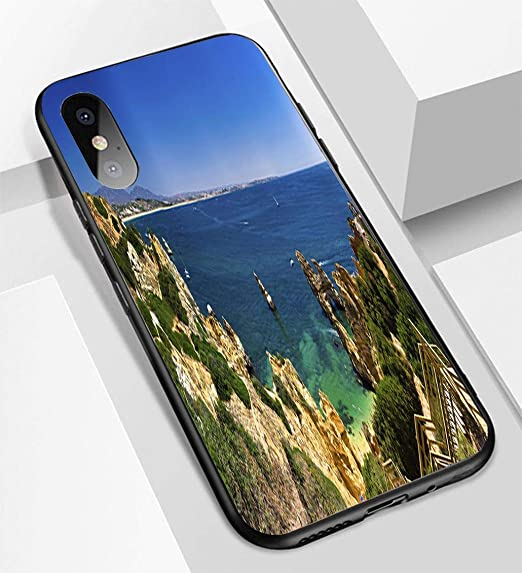 free shipping f51f0 1022a Amazon.com: iPhone X/XS Ultra-Thin Glass Back Phone case,Algarve ...