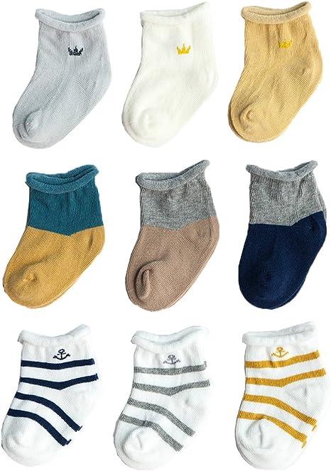 Z-Chen Calcetines de bebé niño niña (Pack de 9), 0-6 meses, Set 1: Amazon.es: Bebé
