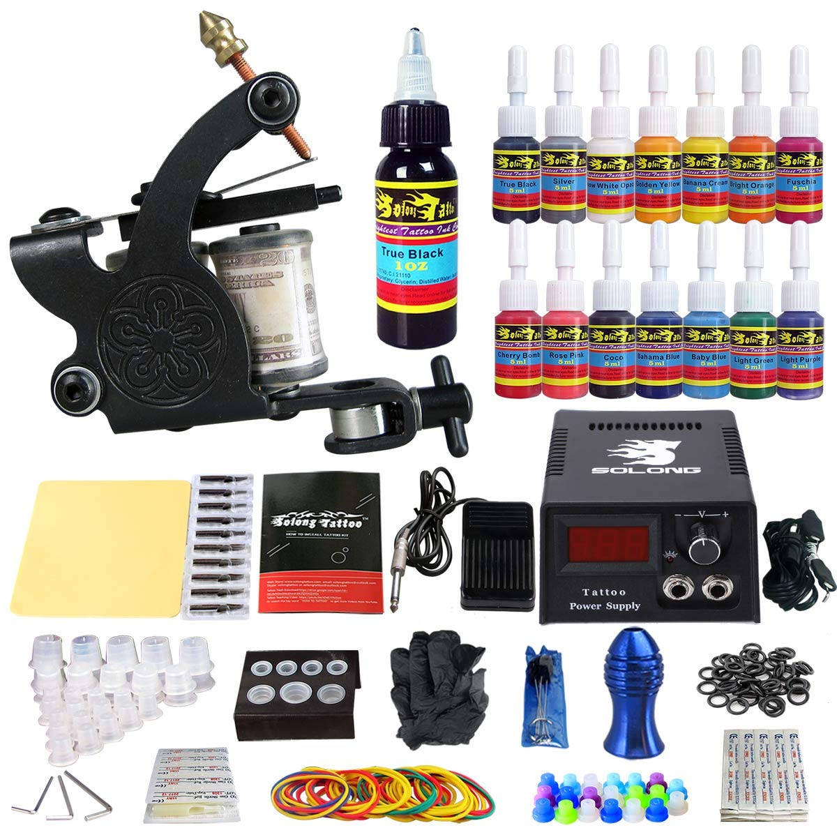 Solong Tattoo Complete Starter Tattoo Kit 1 Pro Machine Guns 14 Inks Power Supply Foot Pedal Needles Grips Tips TK102 by Solong Tattoo