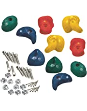 Coloured Climbing Stones Mega Pack - 10 heavy duty climbing foot holds for tree house/climbing frame (Green & Blue)