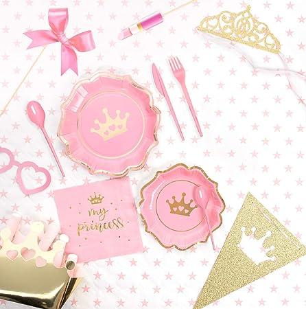 Pack ahorro] Kit Vajilla y Decoración Cumpleaños Fiesta Princesas para 15 personas-Incluye Platos, cubiertos, servilletas, cajitas corona, vasos, guirnalda, accesorios y globo corona: Amazon.es: Hogar