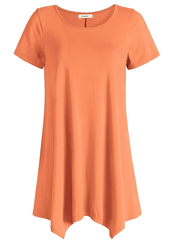 orange Esenchel Women's Short Sleeves Tunic Shirt Loose Fit Leggings Top
