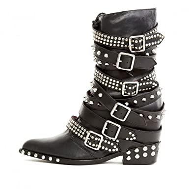 b5e6b3a14ed Jeffrey Campbell Draco Stud Hidden Wedge Pointed Embelished Moto Leather  Boots (6) Black