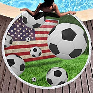 chenguang4422 Soccer USA American Flag Printed Round Beach Towel Yoga Picnic Mat Round Tablecloth Ultra Soft Super Water Absorbent Terry Towel with Tassels