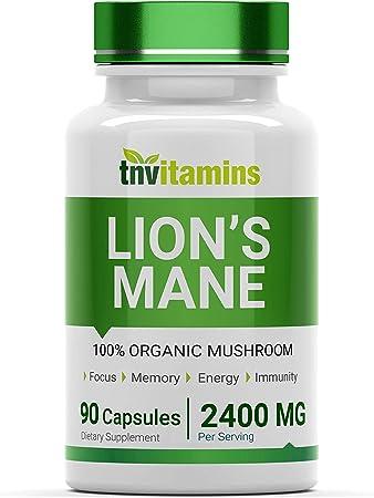 Organic Lion's Mane Mushroom Supplement (2400 MG - 90 Capsules) | Nootropic Brain Support Supplement & Booster | 100% Organic Lion's Mane Mushroom Powder Extract | Focus, Memory, Energy, & Immunity