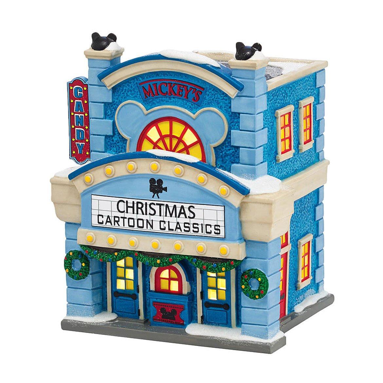 Dept 56 Disney Christmas Village 'Mickeys Cinema Lighted Bldg New 2015