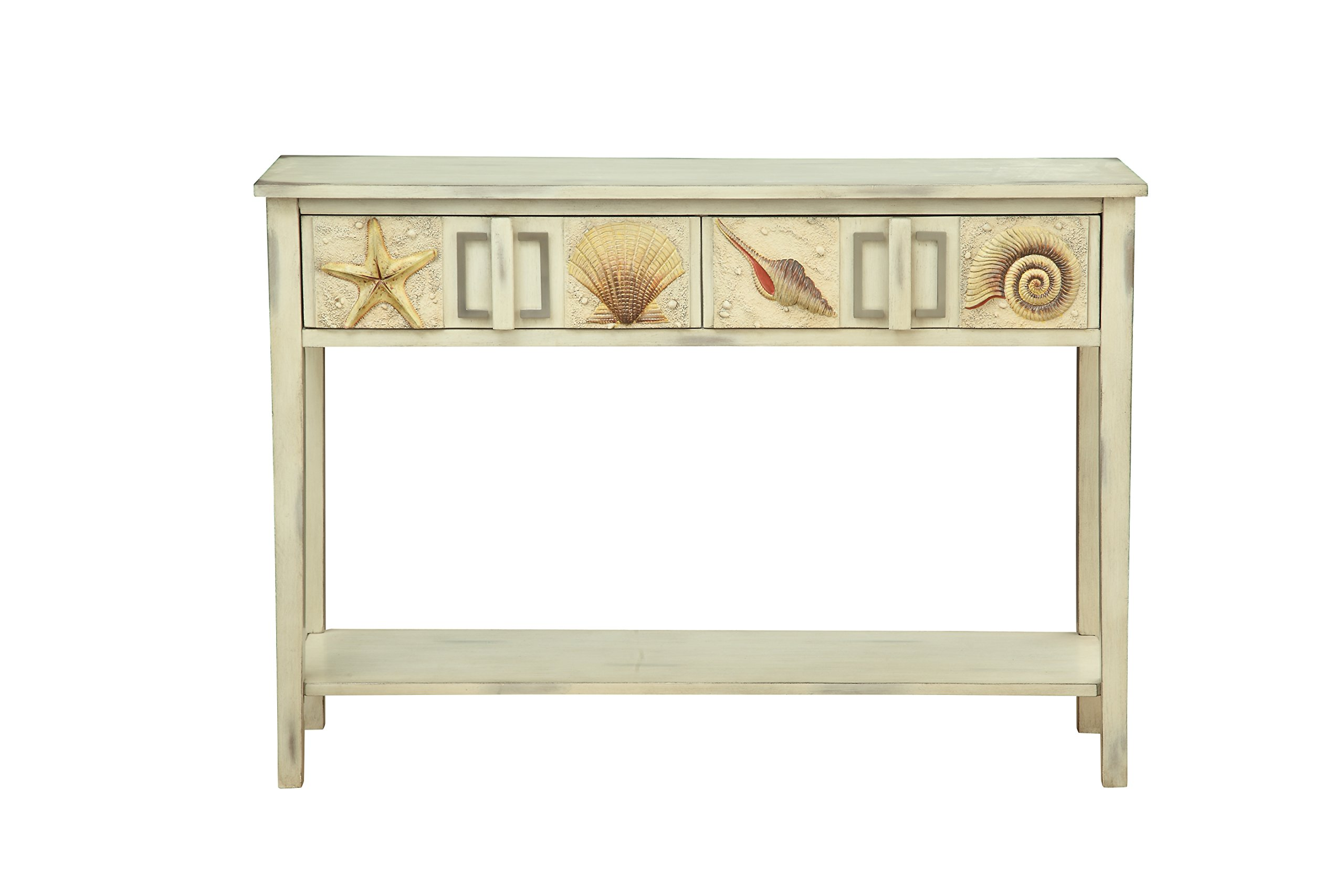 Treasure Trove Two Drawer Console Table, Cream and Brown