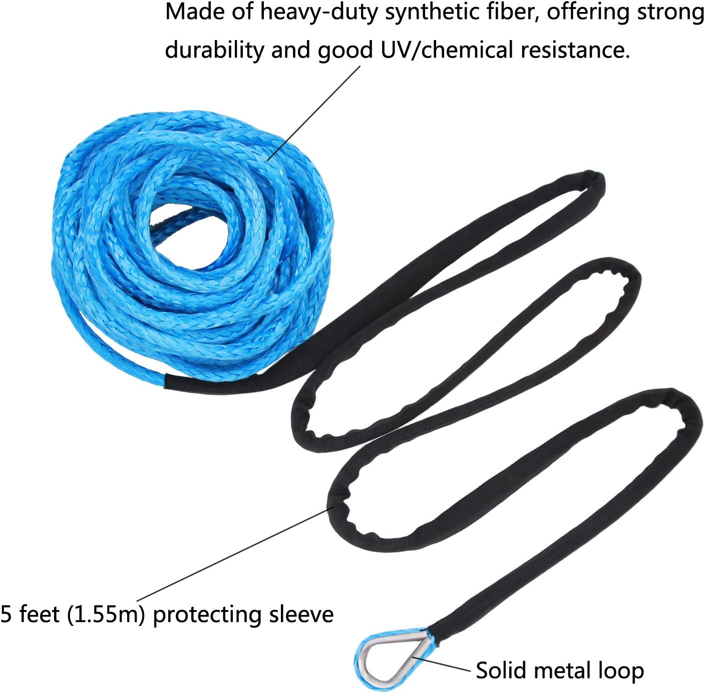 Ucreative 3//16 x 50 7000LBs Synthetic Winch Line Cable Rope with Black Protecing Sleeve for ATV UTV Blue