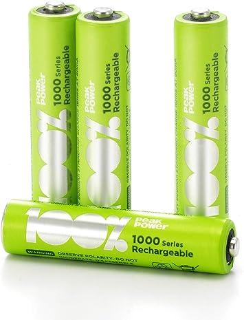 4 x Pilas Recargables AAA 100% PeakPower 1000 Series | Capacidad mínima Garantizada 800 mAh NiMH | Pilas AAA Recargables Que Vienen precargadas Listas para Usar | Bajo Nivel de autodescarga: Amazon.es: Electrónica