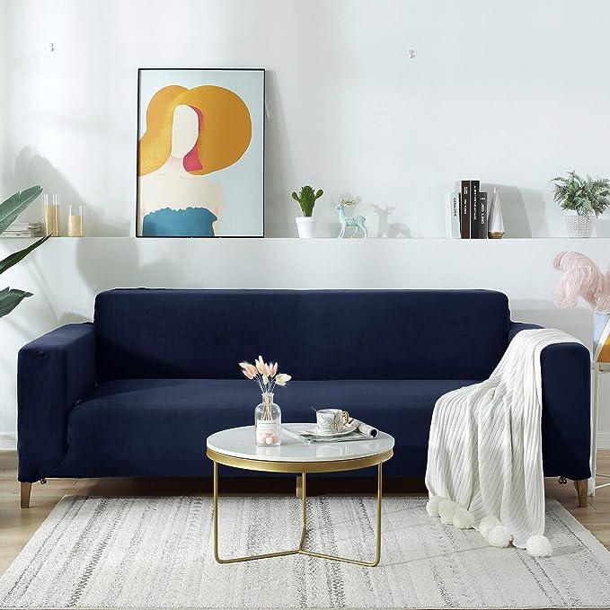 140-180cm 2 Places Bleu fonc/é OSVINO Housse Canap/é 1//2//3//4 Place Velours Epais Confort Classique Couverture Fauteuil Extensible Ajustement Parfait R/ésistant D/écoration Meubles Maison H/ôtel