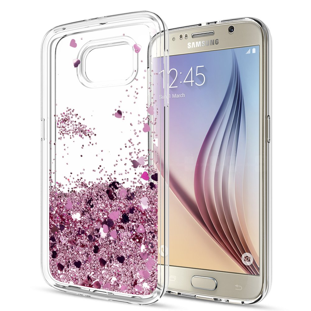 a4e498baa Galaxy S6 Case with Tempered Glass Screen Protector  2 Pack  Girls Women