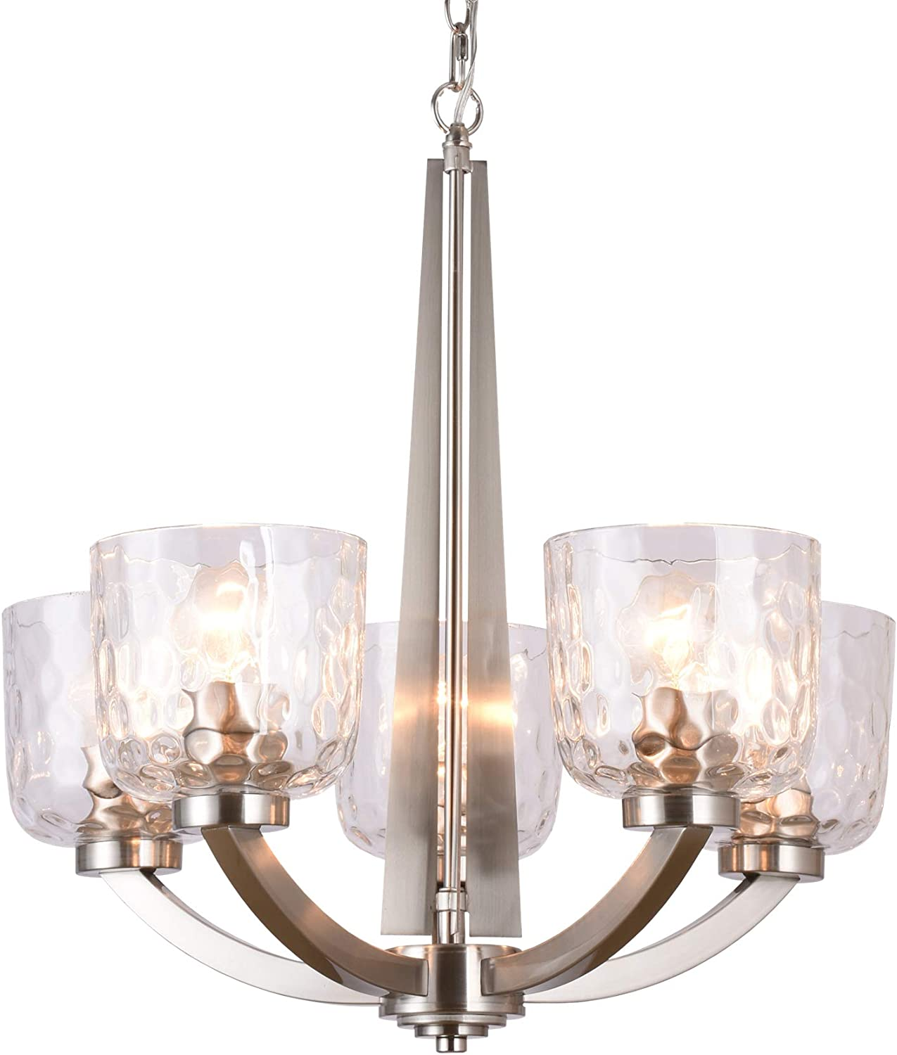 Alice House 22 5-Light E26 Large Chandelier Brushed Nickel Modern Style Hammered Glass Traditional Hanging Pendant Lighting Fixture for Living Room, Dining Room, Kitchen, Bedroom AL6091-H5