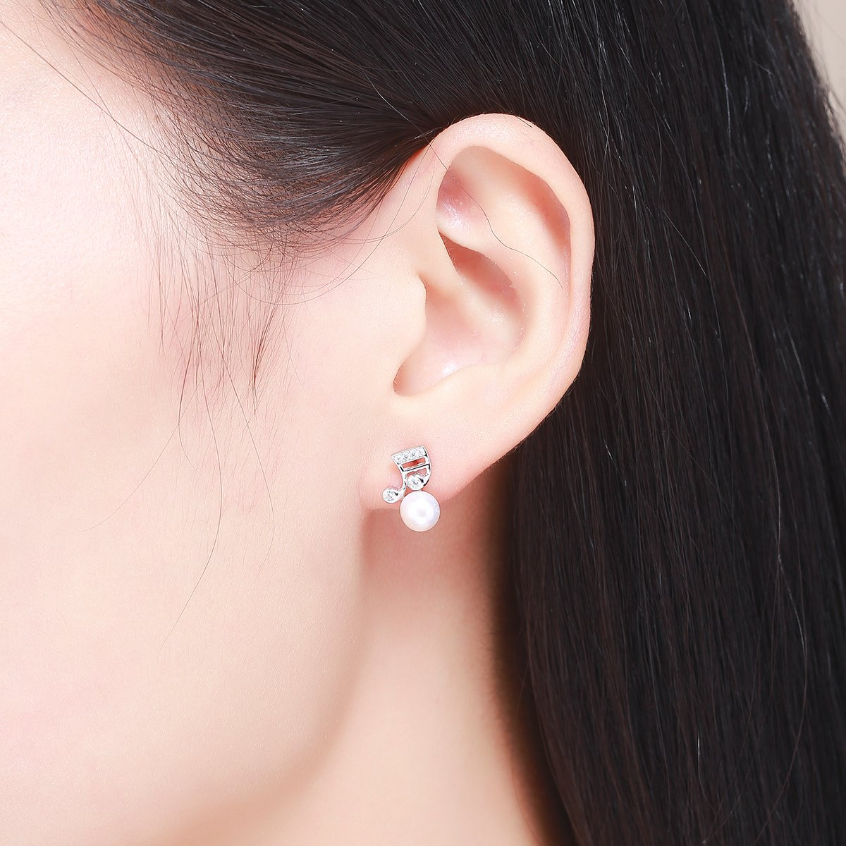 925 Sterling Silver Music Melody Notes Fresh Water Pearl Stud Earrings for Women Authentic Silver Jewelry