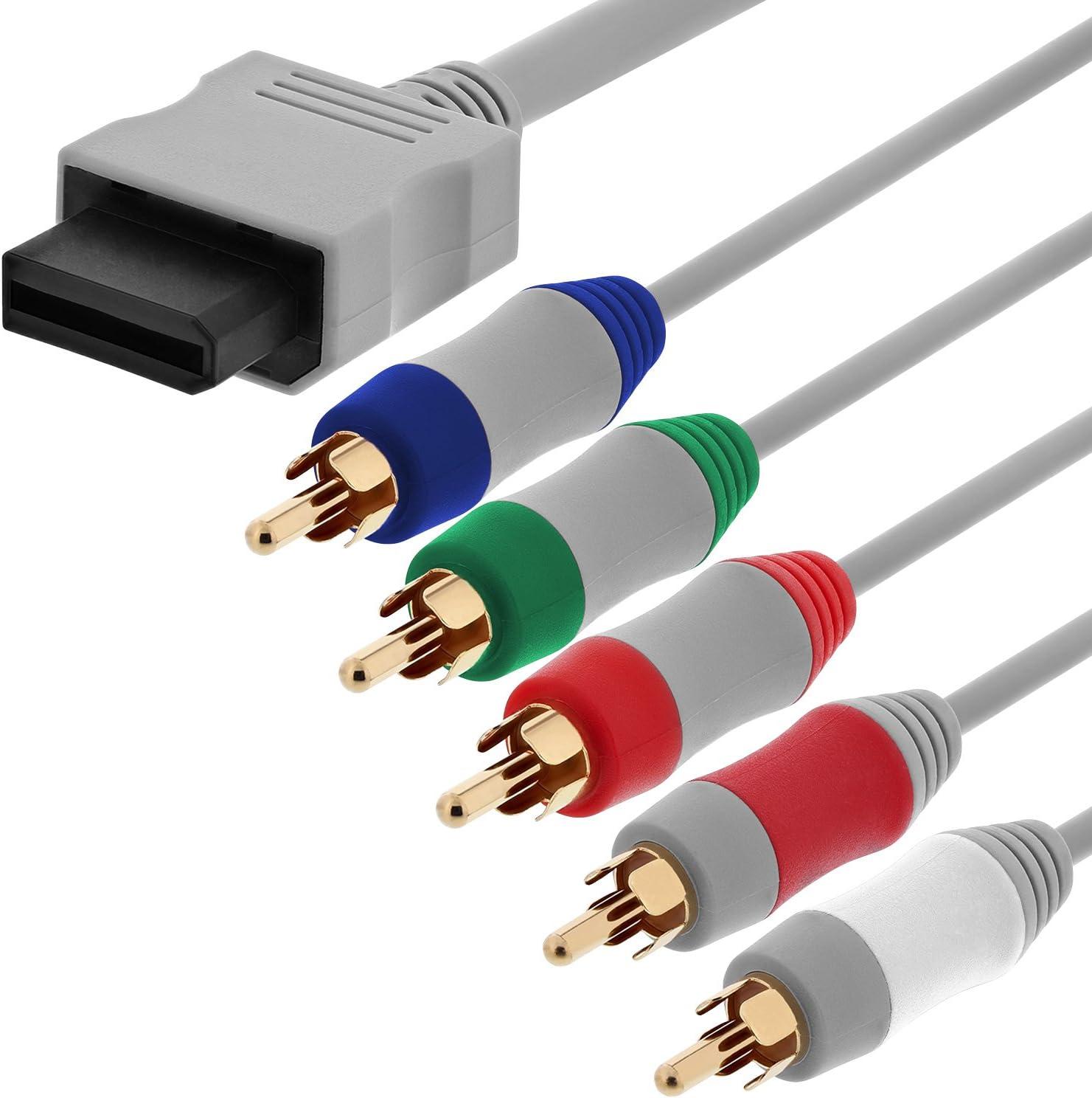 Fosmon Nintendo Wii/Wii U Reemplazo de componentes de Salida de Alta definición AV Cable Cable de HDTV/EDTV (480p de Alta definición) para Nintendo Wii & Wii U - 1.8M