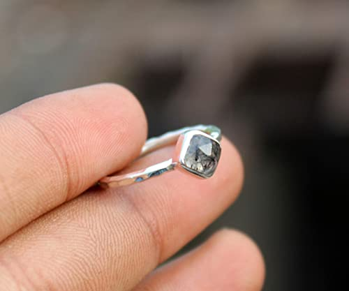 gift for her 925 silver Rutilated quartz and sterling silver ring ring for her