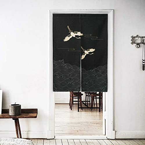 Ofat Home Japanese Doorway Curtain Dark Blue Traditional Painting Red Crowned Crane Noren Curtain Door Curtain for Kitchen Bistro Partition Shading Home Decoration 33.5X 59 in