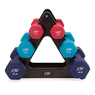 j/fit Dumbbell Set w/Durable Rack   Solid Design   Double Neoprene Coated Workout Weights Non-Chip and Flake   Dumbbells Sets For Gyms, Pilates, MMA, Training, Schools, Rehabilitation Centers