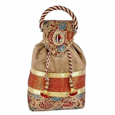75cff062d0eb Maitri Creations Women Traditional Silk Brocade Purse Potli Bag Drawstring  Jewelry Pouch Bag Cotton Gift Bag Value Set Wristlet Beaded Handbag Wedding  ...