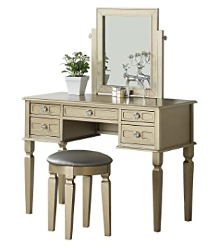 Incredible Bobkona F4185 Vanity Table With Stool Set Champagne Spiritservingveterans Wood Chair Design Ideas Spiritservingveteransorg