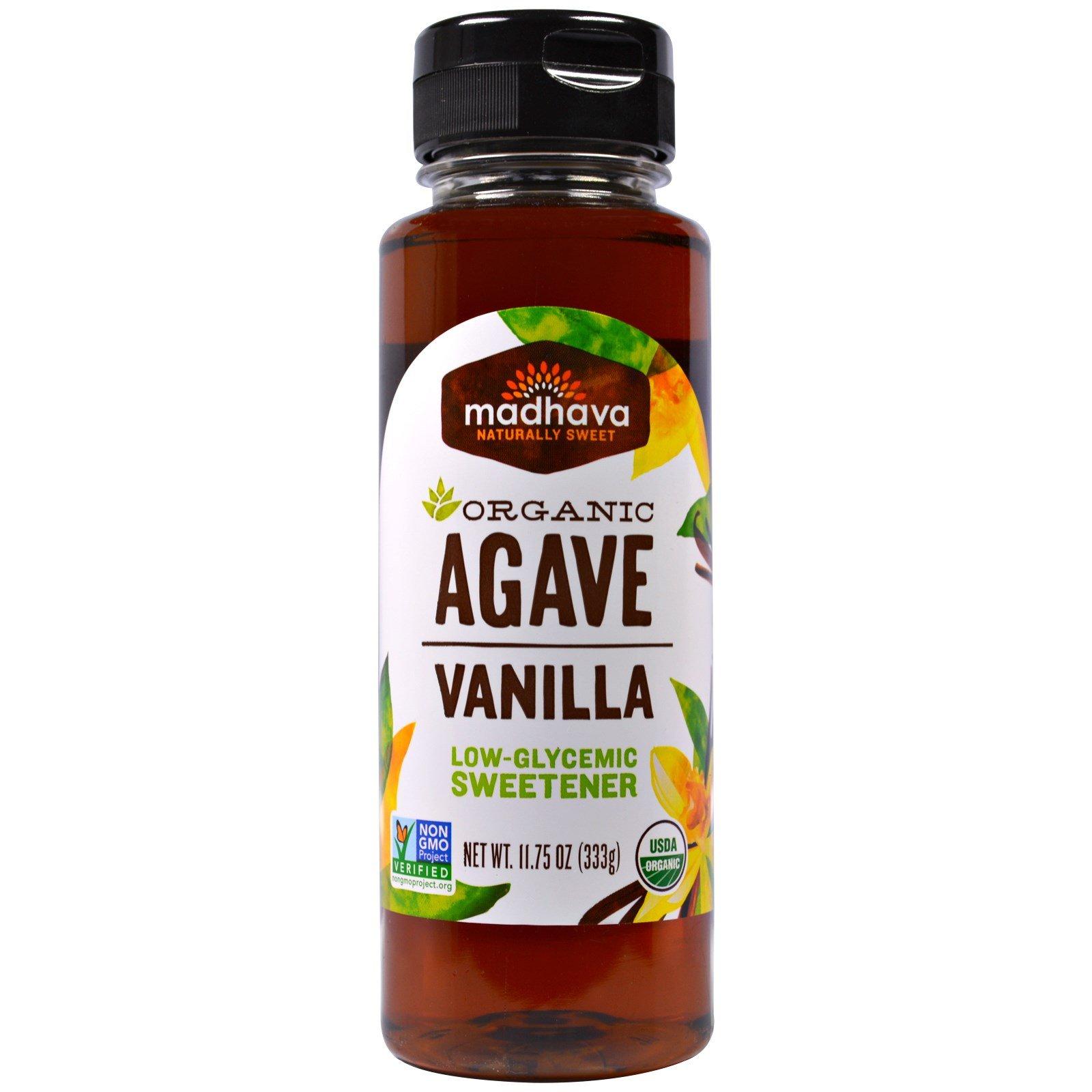 Madhava Natural Sweeteners, Organic Agave Nectar, Vanilla, 11.75 oz (333 g) - 2pcs