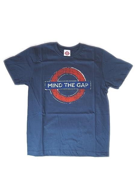 Metro de Londres - Cuidado con la brecha Roundel Camiseta apenada (Marina): Amazon.es: Ropa y accesorios