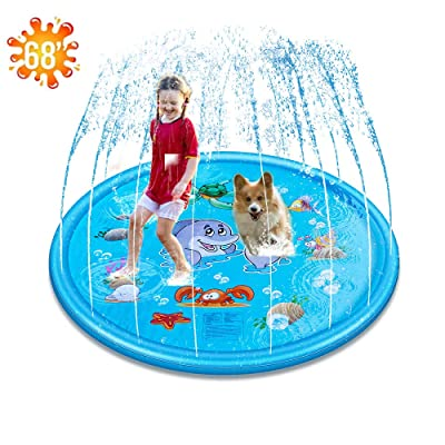 """Water Play Toys, Sprinkler Pad Splash Play Mat (68"""") Party Outdoor Toy(Extra Durable)Infant Wading Pool Fun Summer Water Toys for Kids Baby and Toddler: Toys & Games"""