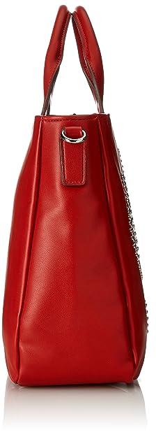 Moschino Borsa Calf Pu Rosso, Sacs portés épaule femme, (Red), 12x26x38 cm (B x H T)