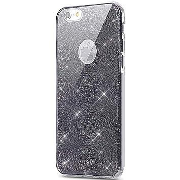 iPhone 7 360 grados móvil, iPhone 7 móvil de purpurina, iPhone 7 Carcasa Antigolpes ultrafina suave TPU Gel silicona Brillante Brillante Cristal ...