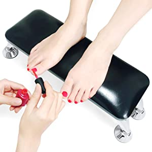 Nail Arm Rest Cushion for Fingernails Toenails Use, Professional Nail Table Armrest Manicure Hand Pillow Nail Tech Use, Microfiber Leather Material (Black)