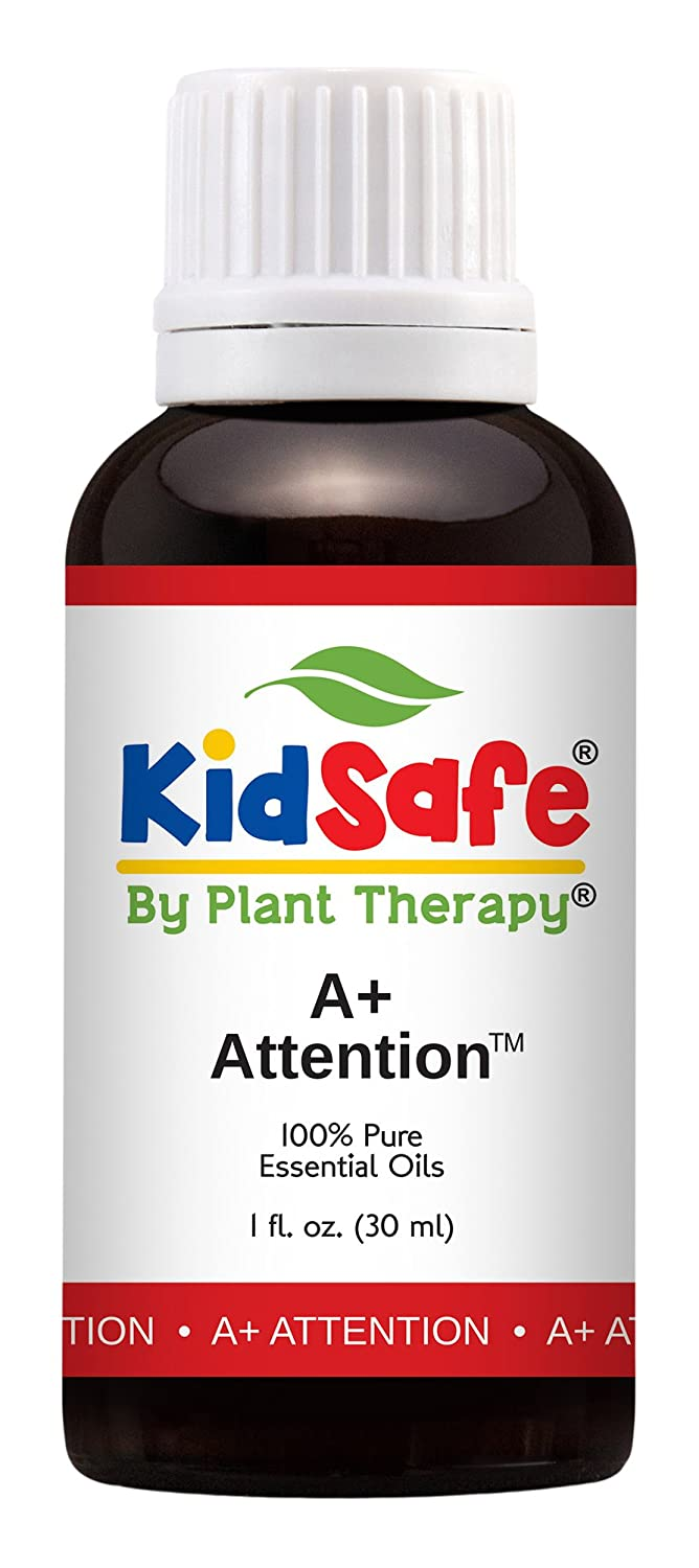 Plant Therapy KidSafe A+ Attention Synergy Essential Oil Blend. Blend of: Petitgrain, Bergamot, Cedarwood Atlas, Grapefruit, Lavender and Vetiver. 30 mL (1 Ounce). Plant Therapy Inc