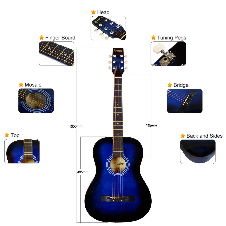 Hapilife Guitarra acústica 3/4 (tamaño cadete) para principiantes, niños y jóvenes, manos pequeñas, 6 cuerdas, con cuerdas de recambio, Azul: Amazon.es: ...
